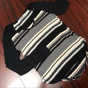 Striped Michael Stars Long Sleeve Tee Shirt